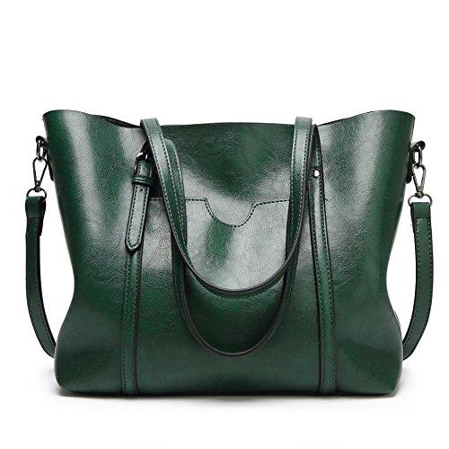 DEERWORD Damen Umhängetaschen Frau Handtaschen Lack PU-Leder Elegant Tote Schultertaschen Grün