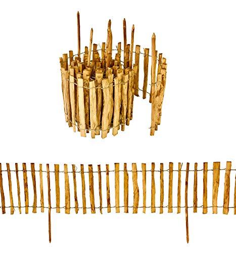Staketenzaun mit Pfosten aus Haselnuss Höhe 35 cm Länge 500 cm imprägnierter Zaun mit gut gespaltenen Stäben und sicheren Spitzen zur Einzäunung und Abgrenzung von Beeten Lattenabstand: 3-4 cm