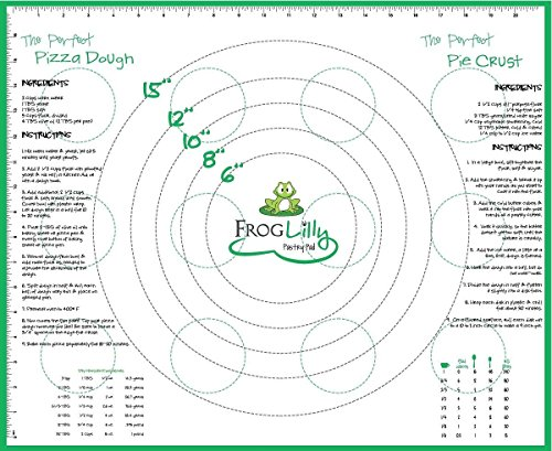 FrogLilly Non Slip Silicone Fondant amp Pastry Mat  Large Bakers Baking Sheet w/Measurements Conversions and Perfect Dough Recipes Great for crafts too 18quot X 22quot