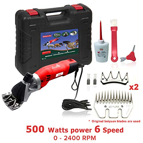Sheep Shears Pro 110V 500W Professional Heavy Duty Electric Shearing Clippers with 6 Speed, for Shaving Fur Wool in Sheep, Goats, Cattle, and Other Farm Livestock Pet, with Grooming Carrying Case CE