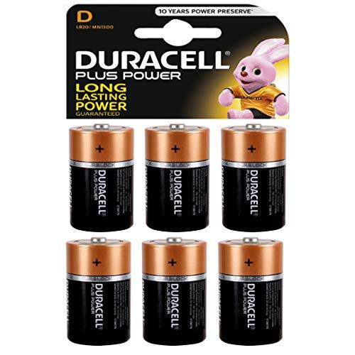 Duracell Plus Power batterie alcaline di tipo D, confezione da 6