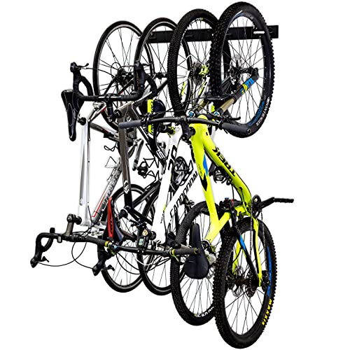 4 Bike Rack for Garage - Solid Steel Extra Heavy Duty BLAT Bike Rack - Garage Wall Mount