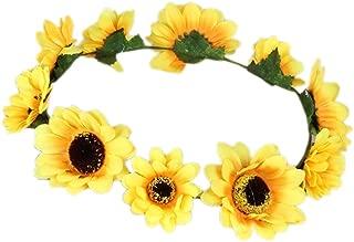 Merroyal Sunflower Boho Hippie Festival Flower Crown Headband Handmade (Yellow)