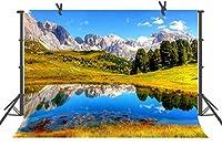 HD野生の自然青い湖と山の背景7x5ft屋外の現実的な写真撮影の背景写真肖像画スタジオ撮影小道具LHFU478