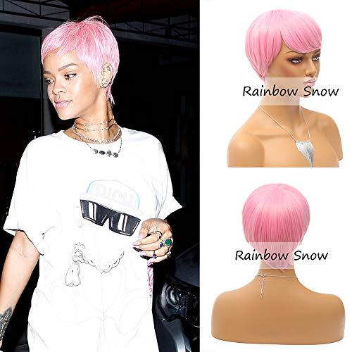 Rainbow Snow courte perruque synthétique rose perruque synthétique résistant à la chaleur pour cheveux style Rihanna