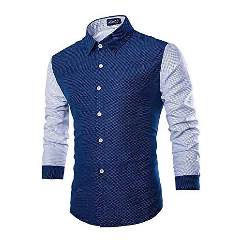 X&Armanis Camicia Casual per Uomo, Camicia a Pois con Cuciture a Contrasto Camicia Trend Bavero (Misto Cotone),1,XL