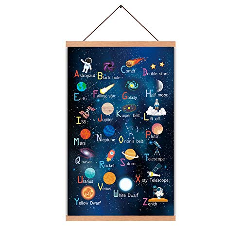 Outer Space Art Print With Wood Magnetic Poster Hanger Frame, Astronomy...