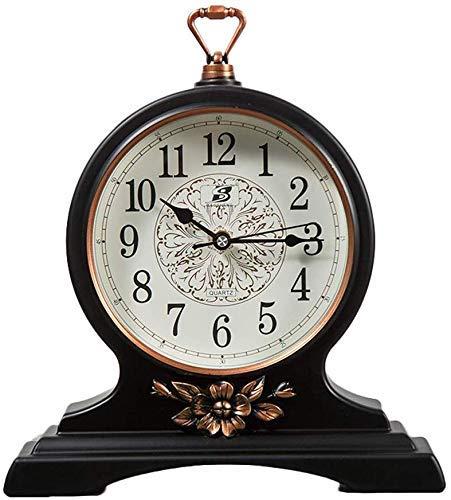 LHQ-HQ Reloj de escritorio retro europeo creativo silencioso, fácil de leer, adornos de escritorio de plástico, reloj de barrido de plástico, color negro, tamaño: 32,5 x 27 cm