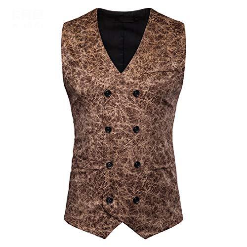 CuteRose Men's Casual V-Neck Leopard Gentleman Nightclub Dress Waistcoat Khaki XL