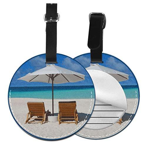 Kofferanhänger Inklusive Adressfeld, PU Leder Kofferschild, Gepäckschild für Koffer Tasche Rucksack Sonnenschirm Urlaub