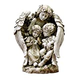 Roman Joseph's Studio Guardian Angel with Children Statue, 15.75H, Garden Collection, Resin and Stone, Decorative, Religious Gift, Home Outdoor and Indoor Decor, Durable, Long Lasting