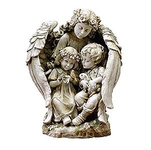 Guardian Angel with Children 16 Inch Resin Stone Decorative Garden Statue Figurine