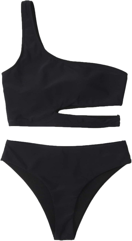 SweatyRocks Women's One Shoulder Bikini Set Cut Out 2 Piece Bathing Suit