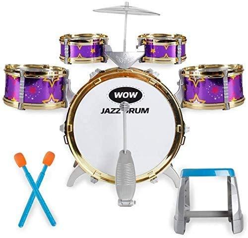 LINANNAN Grupo de percusión niños, Batería para Habitaciones de niños Juguetes de la música de los Instrumentos Musicales electrónicos Puzzle 3 años de Regalo de cumpleaños (Color, púrpura) princi