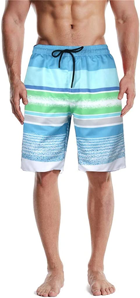 DIOMOR Mens Fashion Blue Green Striped Drawstring Beach Shorts at The Knee Swim Trunks with Pockets Bathing Suit