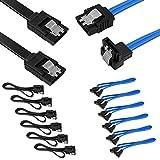 Set di 12 cavi SATA III ad angolo retto e 90 gradi da 6,0 Gbps con chiusura a scatto, cavo DaKuan SATA III (6X nero, 6X blu)
