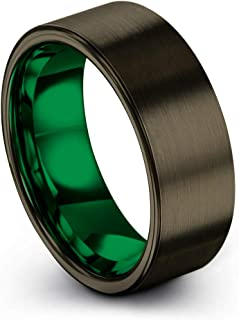 Tungsten Carbide Wedding Band Ring 8mm for Men Women Green Red Blue Purple Black Gunmetal Copper Fuchsia Teal Interior with Flat Cut Brushed Polished