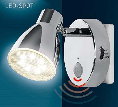 Trango LED Sensor Nachtlicht TG2635-018 in Chrom mit Automatikfunktion direkt 230V mit Bewegungssensor I Sicherheitslicht I Steckdose Lampe I Wandlampe I Orientierungslicht I Kinder Nachtlicht