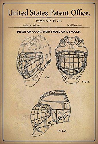 Blechschild 30 x 20 cm U.S. Patent Office - Design for a Goaltender`s Mask for Ice Hockey (Hoshizaki ET AL.) 1995