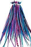 20 extensiones de pelo de plumas naturales con anillos y aplicación Loop (BERE)...