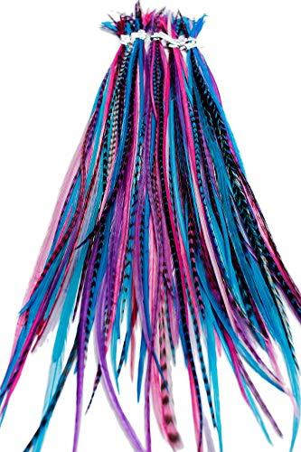 Echte Federn Haarverlängerungen lange Haar Federn mit Ringen und Befestigungsband (B-Klasse), 20 Stück - Berry