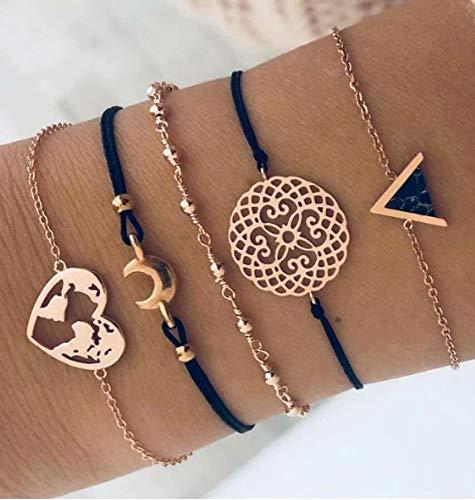 böhmisches mehrschichtiges Armband-Gesetzte Frauen-Mädchen-Art und Weise Vinatge Reizend Schildkröte-Korn-Liebes-Karten-Goldketten-Armband-Armband-Geschenk