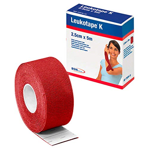 BSN Leukotape K, Klebeverband, Sport Tape, Tape Verband, 5 m x 2,5 cm, rot