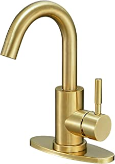 Hoimpro Modern Single Handle Wet Bar Sink Faucet,Single Hole Bathroom Lavatory Faucet,Rv Small Bathroom Sink Faucet,Bar Vanity Faucet With 360 Rotate Spout,Stainless Steel/Brushed Gold (1 or 3 Hole)