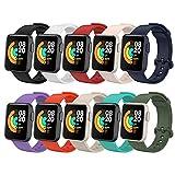 BDIG 10 Pezzi Cinturino per Xiaomi Mi Watch Lite, Braccialetto Redmi Watch Cinturino in Silicone Colorato di Ricambio Anti-Perso Progettato Accessori Tracker per Mi Watch Lite/Redmi Watch Lite