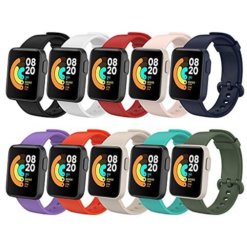 BDIG 10 Pcs Correas Compatible para Xiaomi Mi Watch Lite/Redmi Watch, Mi Watch Lite Pulsera Colorido Suave Silicona Reloj Recambio Brazalete Impermeable Correa para Redmi Watch / Xiaomi Mi Wat