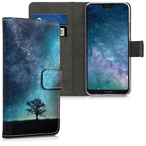kwmobile Custodia Compatibile con Huawei P20 Lite - Cover Portafoglio Pelle Sintetica con Chiusura Magnetica - Porta Carte Natura e Spazio