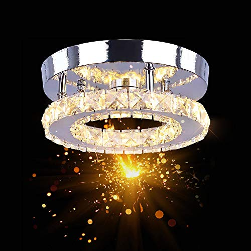Osairous Lámpara de Techo de Cristal LED, 16W Lámpara Colgante Tricolor Regulable, 3000K-6500K Lámpara de Araña Redonda de Montaje Empotrado para Pasillo Comedor
