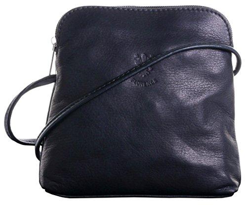 Genuine Italian Soft Leather, Small/Micro Black Cross Body or Shoulder Bag Handbag. Includes Protective Dust Bag.