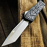 DHHTECH Tactical Folding Knives 3D Carving Cross and Skull Aviation Aluminum Handle Tanto-Blade Outdoor EDC,Survival,Camping,Hunting Knife Gift for Man