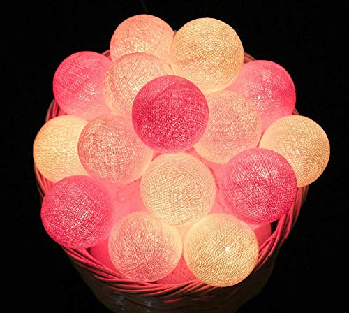 2.2M 20 LED Cotton Ball Garland Lights String Christmas Xmas Outdoor Holiday Wedding Party Baby Bed Fairy Lights Decorations-Pink Warm_by USB