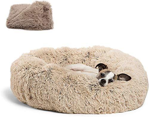 Round Pet bed, Calming Bed Plush Nest Warm Soft Cushion Donut Cuddler Cat Dog Puppy Comfortable for Sleeping Winter (80cm, Beige)