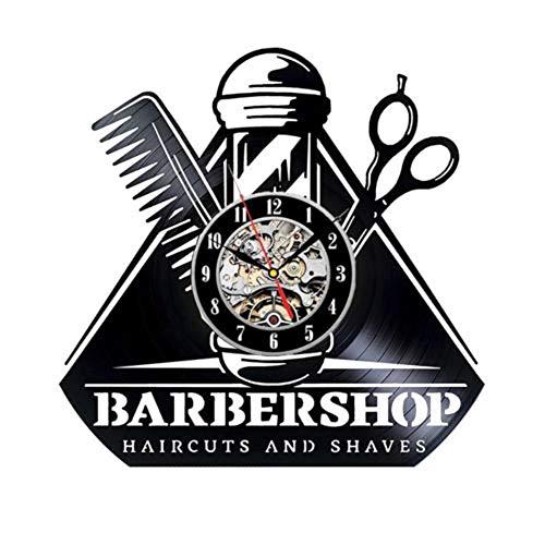 LKJHGU Peluquería Reloj de Pared con Disco de Vinilo diseño Moderno Reloj de peluquería Reloj de Pared Reloj de Pared peluquería