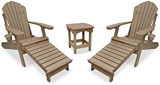 Outer Banks 3-Piece Deluxe Adirondack w/Integrated Footrest Set with Harbor Side Table (Weatherwood)