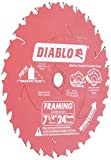 Diablo D0724A 7-1/4in 24T ATB Framing Saw Blade 5/8in & Diamond Knockout Arbor