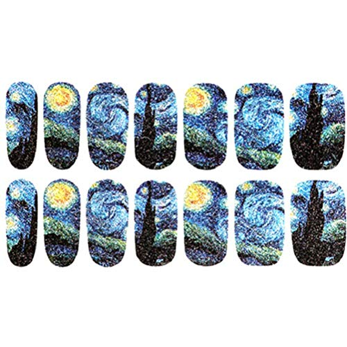 BLOUR 14 Unids/Hoja DIY Cielo Estrellado Noche Nail Art Stickers Glitter Manicure Tips Wraps Nail Art Decals Calcomanía Colorida Personalidad