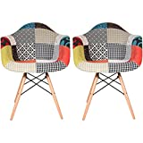 2xhome Set of Two (2) - Fabric Armchair Natural Wood Legs Eiffel Dining Room Chair - Lounge Chair Arm Chair Arms Chairs Seats Wooden Wood Leg Wire Leg (Patchwork S)