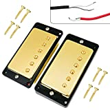 Sealed Humbucker Double Coil Pickups Neck&Bridge Pickup Replacement for Gibson Les Paul LP EPIPHONE Electric Guitar Parts, Gold with Black Frame