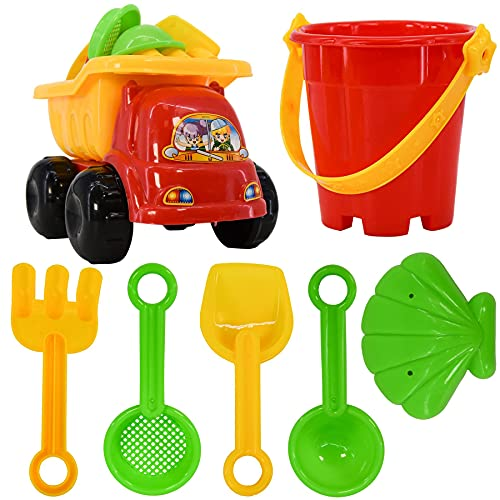 7 Piece Sand Truck & Accessories Fork Spade Beach Garden Toy Kids Play S