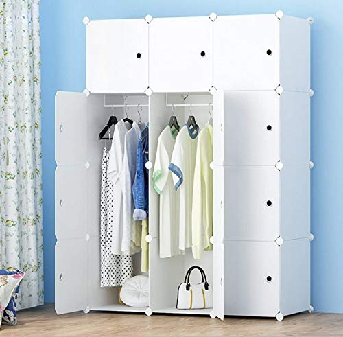JOISCOPE MEGAFUTURE Portable Wardrobe for Hanging Clothes Combination Armoire Modular Cabinet for Space Saving Ideal Storage Organizer Cube for Books Toys Towels12-Cube