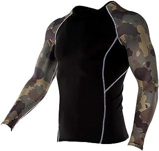 スポーツシャツ メンズ コンプレッションウェア アンダーウェア 長袖 Tシャツ パワーストレッチ フィットネス 加圧 吸汗 速乾 快適 アンダーシャツ コンプレッショントップス インナー UVカット トレーニングウエア アクティブ ランニング
