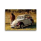 CALVENDO Toile Textile de qualité supérieure de 45 cm x 30 cm, 3 CV | Tableau sur châssis – Impression sur Toile – Citroën 2CV avec Cheval Technology – Technologie