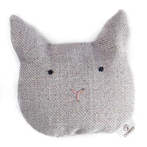 COSY AND DOZY Katzenspielzeug mit Katzenminze, Original, Handgemacht in Polen, Buchweizenschale und Catnip Füllung (Katzenkopf)