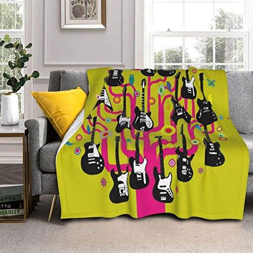 AEMAPE Guitars Rock Fleece Blanket Antiestático Sherpa Throw Blanket Cálido y Acogedor Manta para Dormir Manta de Lujo de Lana de Cordero Manta de Cama para el hogar para Hombres, Mujeres, niños