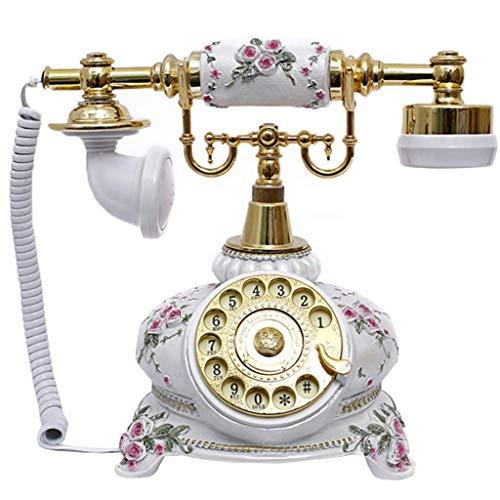 FHISD Teléfono Retro clásico/teléfono Fijo Vintage, Resina, función, dial Giratorio, Accesorios para el hogar Vintage, decoración - Blanco, decoración de Escritorio para el hogar