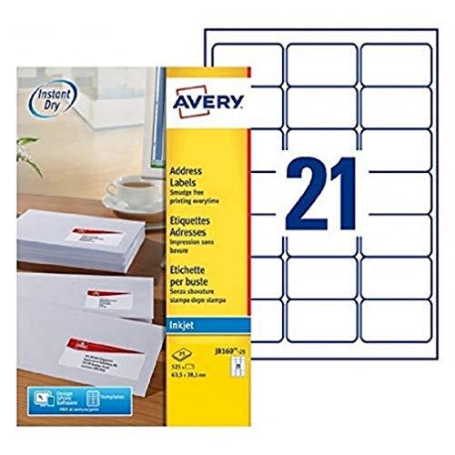 Avery J8160-25 Etichette adesive bianche, 63,5 x 38,1 mm, 21 etichette per Foglio, 25 Fogli, stampanti Inkjet